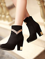 Women's Shoes Fleece Chunky Heel Fashion Boots/Round Toe Boots Dress Black/Blue