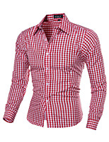 Men's Long Sleeve Shirt , Cotton Blend Casual / Work / Formal / Sport / Plus Sizes Striped / Plaids & Checks / Pure