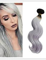 3pcs / lot brasileño onda del cuerpo del pelo humano virginal ombre gris plata tejer del pelo 1b / gris dos extensiones de cabello de tono