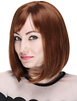 Short Straight Bob Wigs Heat Resistant Synthetic Wig with Full Bang