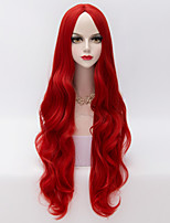 80cm European Style Long Loose  Wavy U Part Hair Red Heat-resistant Synthetic Lolita Wig