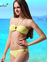 Women's Bikinis , Ruffle/Solid/Bandage Underwire Bra/Padless Bra Nylon/Polyester/Spandex Swimsuit Bikini