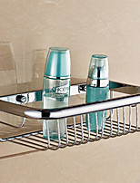 Bathroom Soild Brass Chrome Finish Wall Mounted Shelves for Shampoo Holder