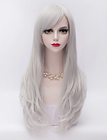 70cm Long Layered Curly Hair With Side Bang Silver White Heat-resistant Synthetic Harajuku Lolita Vogue Wig