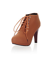 Для женщин Обувь на каблуках Оригинальная обувь Ботильоны Удобная обувь Дерматин Весна Зима Повседневные Шнуровка На шпилькеЧерный