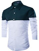 Men's Long Sleeve Shirt , Cotton / Linen / Nylon Casual / Work / Formal / Sport / Plus Sizes Plaids & Checks / Pure