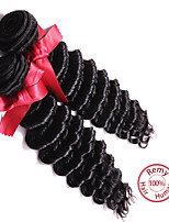 EVET Brazilian Virgin Hair Deep Wave 7A Grade Brazilian Hair Weft 2Pcs Natural Color Black Deep Wave Human Hair Weave