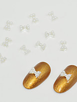 10pcs Alloy Inlaid Pearl Bow Tie Nail Art Decoration