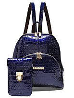 Women PU / Patent Leather Bucket Backpack / Travel Bag - White / Purple / Blue / Black / Burgundy