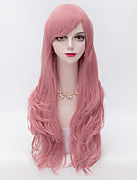 70cm Long Layered Curly Hair With Side Bang Pink Heat-resistant Synthetic Harajuku Lolita  Wig