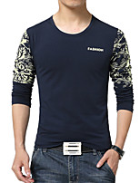 Men's Fashion National Print Round Collar Slim Long Sleeved T-Shirts