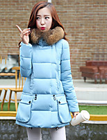 Women's Fur Collar Thin Faux Fur Long Sleeve Down Coat , Casual/Work/Plus Sizes Cotton/Polyester/Faux Fur/Feather