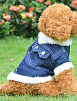Dark Blue CowBoy Cotton Single Layer Clothes Coat for Dog