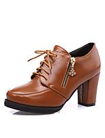 -Для женщин-Повседневный-Микроволокно-На толстом каблуке-Удобная обувь-Обувь на каблуках