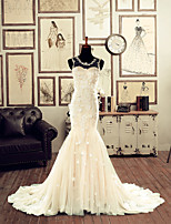 Trumpet/Mermaid Wedding Dress - Champagne Chapel Train Jewel Lace