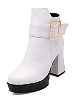 Women's Shoes Chunky Heel Fashion Boots/Round Toe Boots Party & Evening/Dress Black/Red/White
