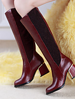 Women's Shoes Leatherette Chunky Heel Heels / Office & Career / Casual Black / Blue / Brown / Red