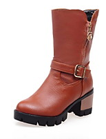 Women's Shoes Chunky Heel Motorcycle Boots Boots Dress Black/Brown/White