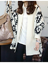 Women's Patchwork Almond Cardigan , Casual Long Sleeve