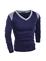 Men's Long Sleeve Polo , Cotton Blend Casual / Work / Formal / Sport / Plus Sizes Plaids & Checks / Pure