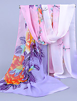 Women's Chiffon Colorful Flowers Print Scarf