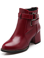 Women's Shoes Leatherette Chunky Heel Round Toe Boots Casual Black / Red / Beige