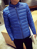 Men's Regular Down Coat , Polyester Pure Long Sleeve