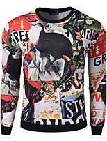 Men's Casual/Daily Sweatshirt Print Round Neck Micro-elastic Cotton Long Sleeve