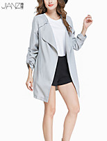 Women's Solid Gray Trench Coat , Casual / Party / Work Long Sleeve Polyester JZ9C17