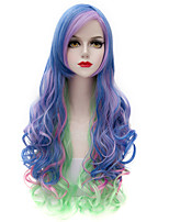 Eye Catching Colorful Blue/Purple/Green Long Curl Wavy U Partv Harajuku Purecas Vogue Cosplay  Women Synthetic Wig