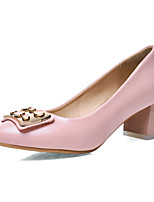 Women's Shoes PU Summer/Round Toe Heels Office & Career/Casual Chunky Heel Applique Black / Pink / White / Almond
