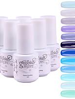 YeManNvYou®5pcs Sequins UV Color Gel Nail Polish Suit No.61-72(5ml, 3PCS Nail Polish +1PCS Base Coat + 1PCS Top Coat)