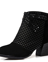 Women's Shoes Fashion Boots Velvet Breathable Cotton-padded Chunky Heel Black/Metallic