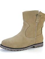 Zapatos de mujer - Tacón Plano - Comfort / Botines / Punta Redonda / Punta Cerrada - Botas - Casual - Ante - Negro / Marrón / Beige