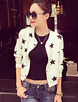 Women's Galaxy White / Black Jackets Casual Stand Long Sleeve