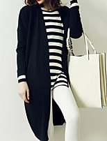 Women's Solid Black / Gray Coat , Casual Long Sleeve Roman Knit