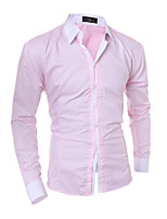 Men's Long Sleeve Shirt , Cotton Blend Casual / Work / Formal / Sport / Plus Sizes Pure