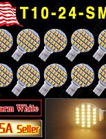 10 x branco quente t10 cunha rv paisagismo 24 SMD LED lâmpadas W5W 921 168 194 luz