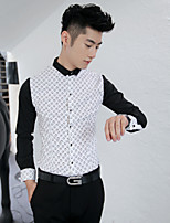 Men's Long Sleeve Shirt , Cotton Casual / Work Print