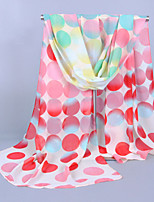Women's Chiffon Colorful Round Dots Print Scarf