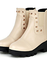 Women's Shoes Leatherette Flat Heel Fashion Boots Boots Outdoor / Casual Black / Brown / White