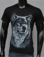 Herren Freizeit / Büro / Sport T-Shirt  -  Druck / Einfarbig Kurz Baumwolle