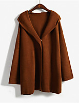 Women's Solid Black / Brown Cardigan , Casual Long Sleeve