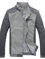 Men's Long Sleeve Jacket , Cotton Blend Casual / Work / Sport Striped