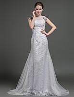 Sheath/Column Wedding Dress - Silver Sweep/Brush Train Jewel Tulle / Lace