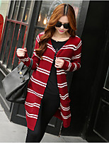 Women's Patchwork Red / White / Black Cardigan , Vintage / Casual Long Sleeve