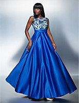 Formal Evening Dress - Royal Blue A-line Jewel Floor-length Tulle/Charmeuse