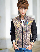 Men's Long Sleeve Jacket , Cotton Blend Casual / Sport Print