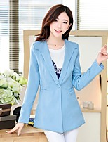 Women's Solid Blue / Pink / White Blazer , Casual / Work V Neck Long Sleeve