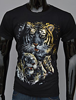 3D printed short-sleeved T-shirt printing tiger